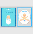 its a boy greeting card baby shower child infants vector image