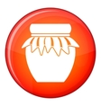 Jam in glass jar icon flat style vector image vector image