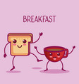 kawaii breakfast design vector image vector image