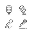 line microphone icons set on white background vector image vector image