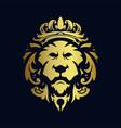 lion head gold crown logo ornaments vector image vector image