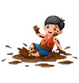 little boy playing in the mud vector image