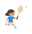 little girl cartoon character playing tennis flat vector image vector image