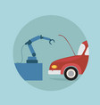 modern robotic arm repair car icon futuristic vector image