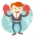 Office man wearing boxing gloves in front of vector image vector image