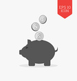 Piggy bank and coins icon Money savings concept vector image vector image