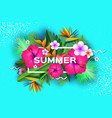 pink hibiscus flower tropical summer palm leaves vector image