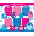 School timetable monsters vector image vector image