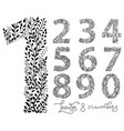 set of numbers from one to ten made with hand vector image