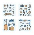 set of travel doodle symbols in vector image