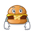 silent hamburger with the cartoon cheese toping vector image vector image