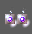 silver earrings isolated on black vector image vector image