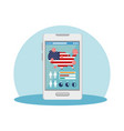 smartphone with usa flag covid19 pandemic vector image vector image