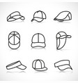sports cap icons set vector image
