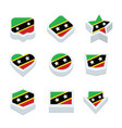 st kitts amp nevis flags icons and button set vector image