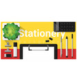 stationery scene with office equipment vector image