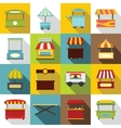 Street food truck icons set flat style vector image