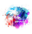 summer watercolored splash with flower vector image vector image