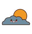 sun and cloud cute kawaii cartoon vector image vector image