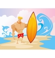 surfer on the beach character vector image