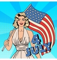 USA Independence Day Woman with American Flag vector image vector image