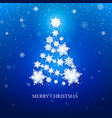 white snowflake christmas tree on blue background vector image vector image