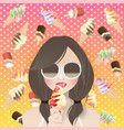 woman ice cream lover on ice cream background vector image