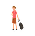 young man standing with suitcase guy traveling on vector image vector image