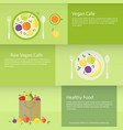 banners or cards with fruits plate and package in vector image