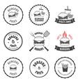 Set of burger and fries restaurant design elements vector image