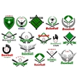 Baseball emblems or logo with game equipments vector image vector image