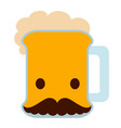 beer with a mustache icon vector image vector image
