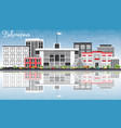 belmopan skyline with gray buildings blue sky vector image vector image