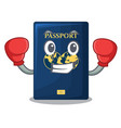 boxing blue passport in the cartoon form vector image vector image