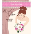 Bride with bouquet of roses vector image vector image