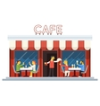 Cafe Building Facade Customer People Eating vector image