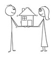 cartoon man and woman holding family house of vector image vector image
