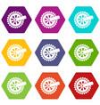 cogwheel icons set 9 vector image