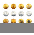 crypto currency logo gold silver coins set vector image