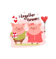cute cartoon pigs couple and text vector image vector image