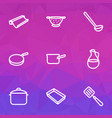 dishware icons line style set with casserole pan vector image