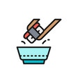 dunk sushi in soy sauce japanese cuisine flat vector image vector image