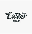 easter bunny sign lettering with bunny and eggs vector image