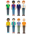 Eight faceless men smiling vector image vector image