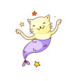 fantasy mermaid cat isolated funny mermaid cat vector image