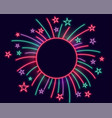 fireworks neon lights frame with text space vector image