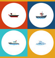 flat icon boat set of boat sailboat cargo and vector image vector image