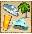 four symbols rest and travel in summer vector image vector image