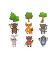 friendly forest animals set vector image