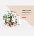 gardening as meditation woman planting gardens vector image